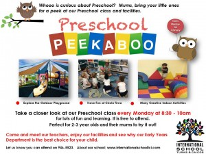 ISTCI Preschool Peekaboo Flyer Every Monday at 830am