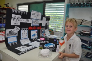 Science fair 2015 Sam with his project