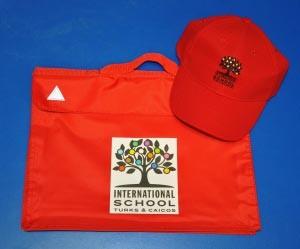 International School book bag and hat