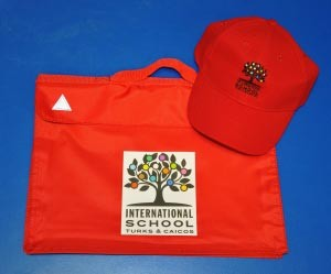 International School book bag and hat