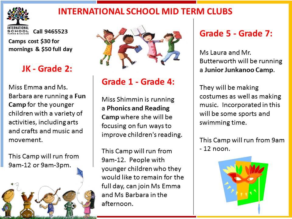 International School Mid term Clubs